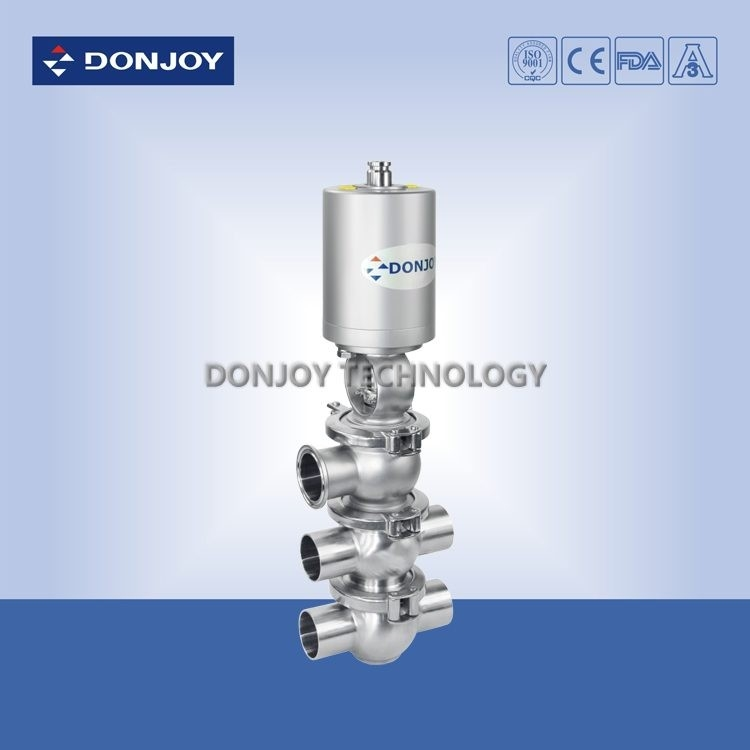 SS304 / SS316L sanitary pneumatic reversing valve of double seats for fluid conveying