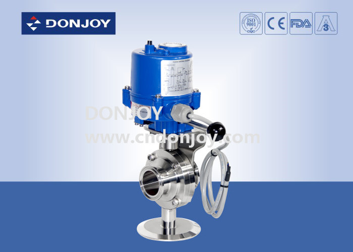 Stainless steel sanitary level butterfly valves of ball type with electic actuator