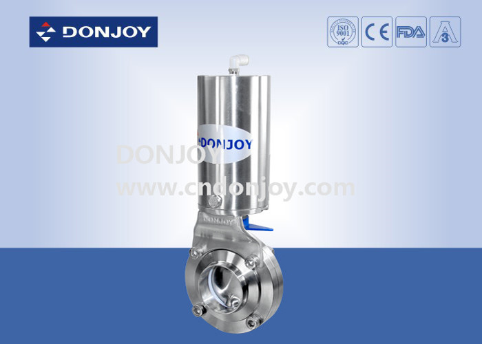 DN10 - DN300 Sanitary Welding L Butterfly Valves With OD 85 Acuator