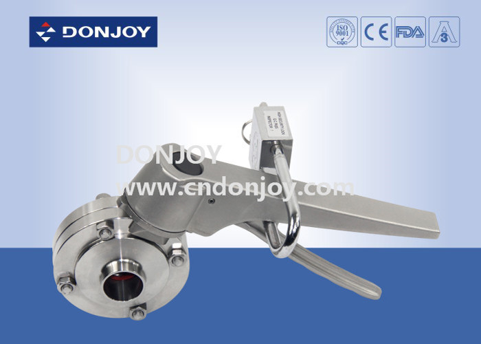 Manual Weld Sanitary Buttterfly Valve With Stainless Steel Lockable Multi Handle
