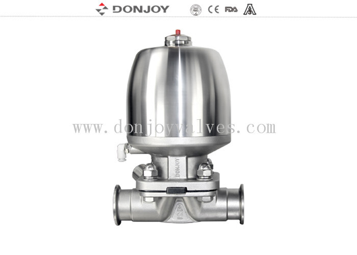 Direct way Sanitary Diaphragm Valve , Pneumatic Normal close Diaphragm Valve EPDM PTFE Gasket