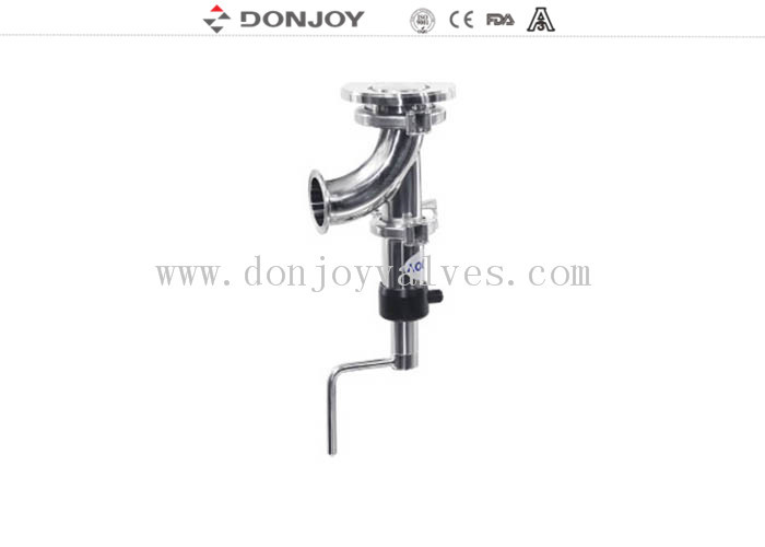 SS304 And SS316L Stainless Steel Sanitary Manual Tank Bottom Seat Valve 90 Elbow Type